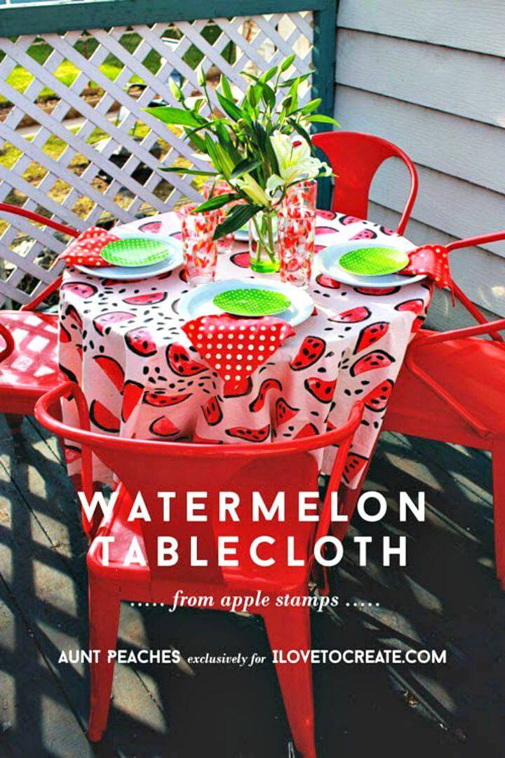DIY Watermelon Tablecloth from Apple Stamps