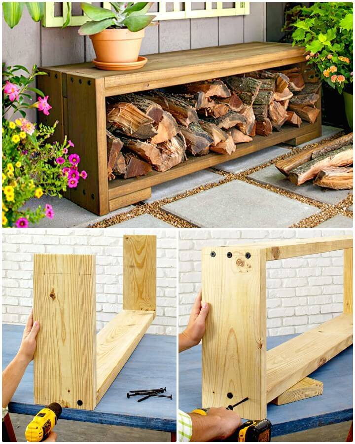 Easy DIY Bench with Firewood Storage