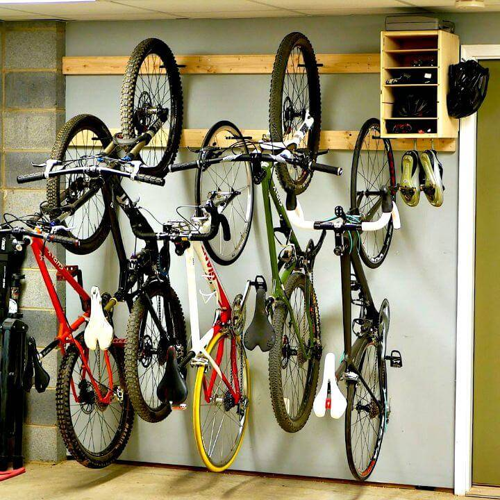 Easy DIY Bike Rack For $20 In Garage