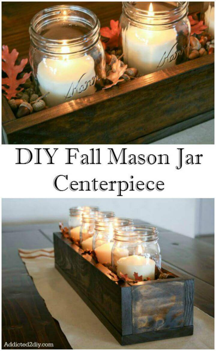 How to Make Fall Mason Jar Wood Box Centerpiece