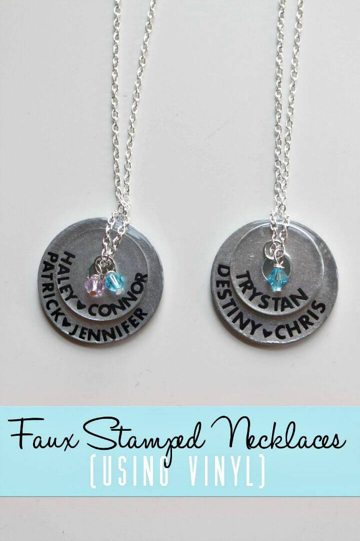 Easy DIY Faux Stamped Necklaces - Mothers Day Gifts