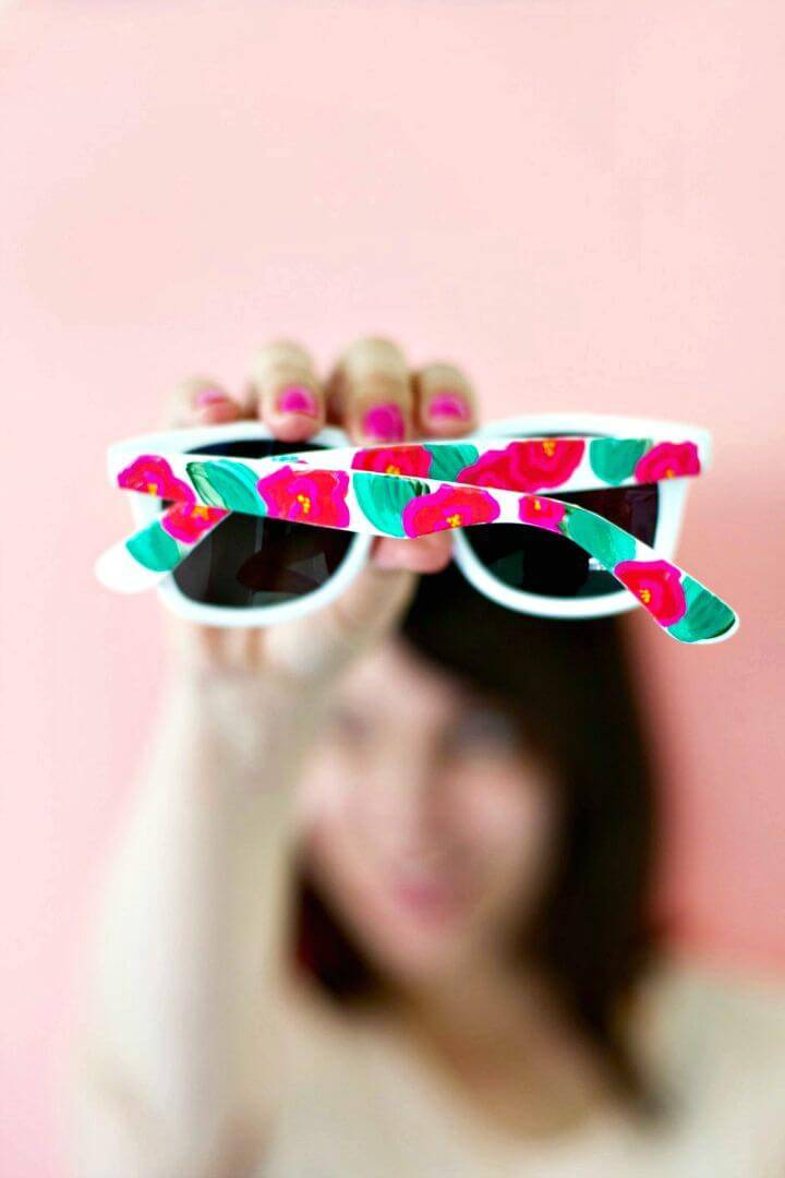 Easy DIY Floral Painted Sunglasses