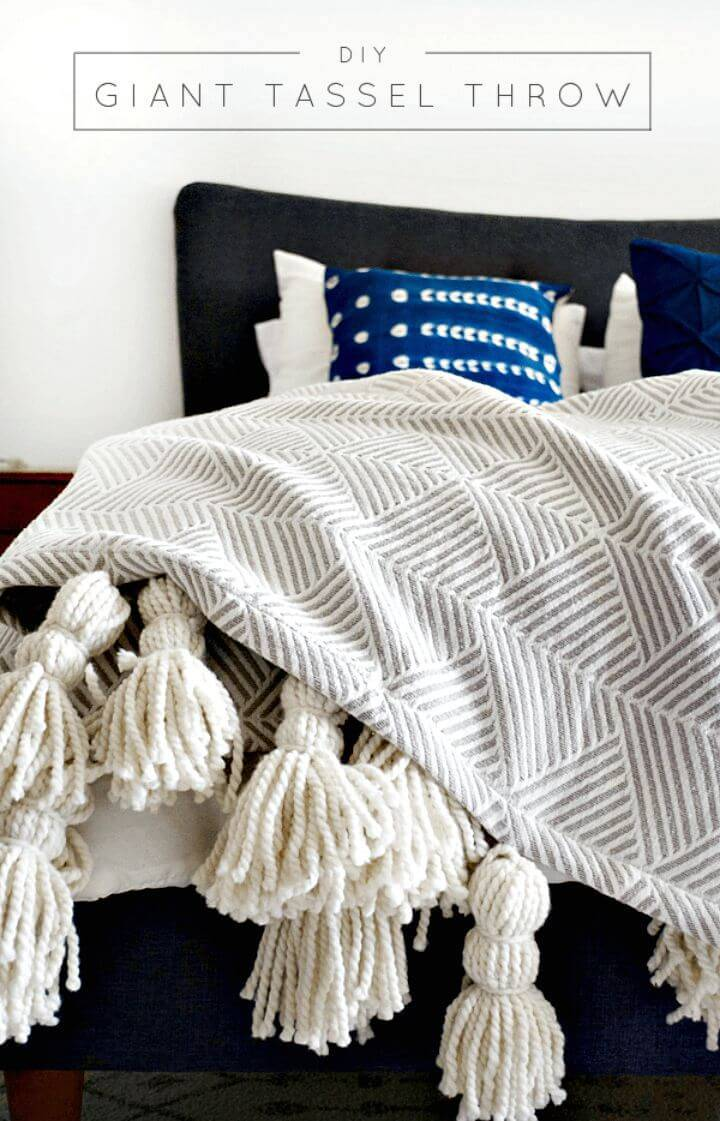 Easy DIY Giant Tassel Throw Blanket