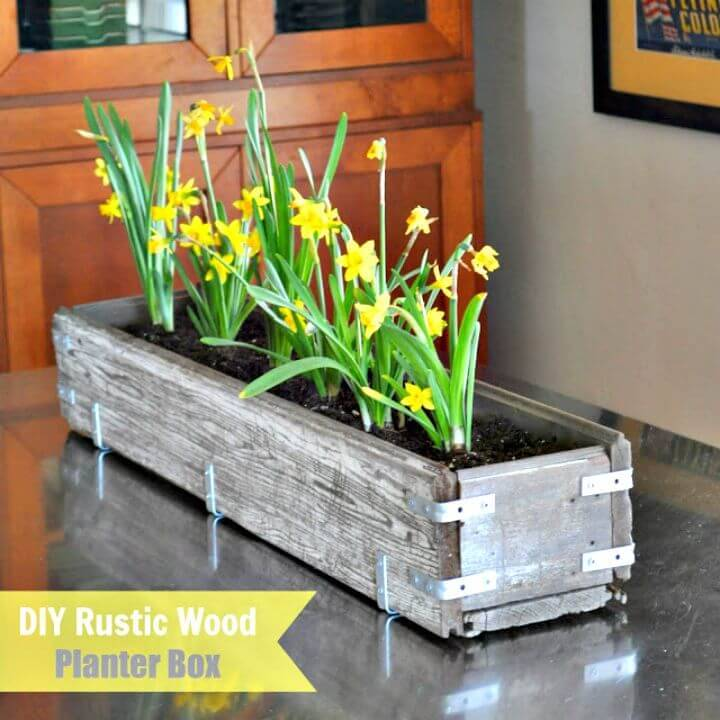 Build Your Own Rustic Wood Planter Box Centerpiece