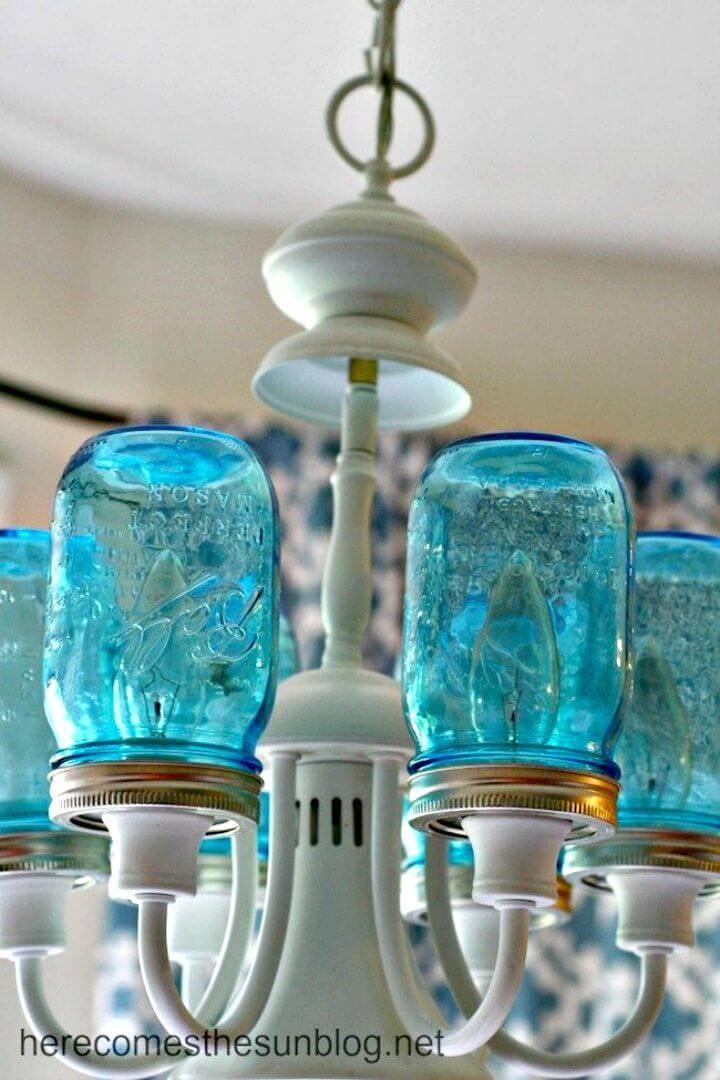Gorgeous DIY Blue Mason Jar Chandelier