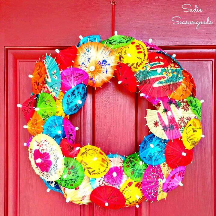 DIY Drink Umbrella Summer Wreath