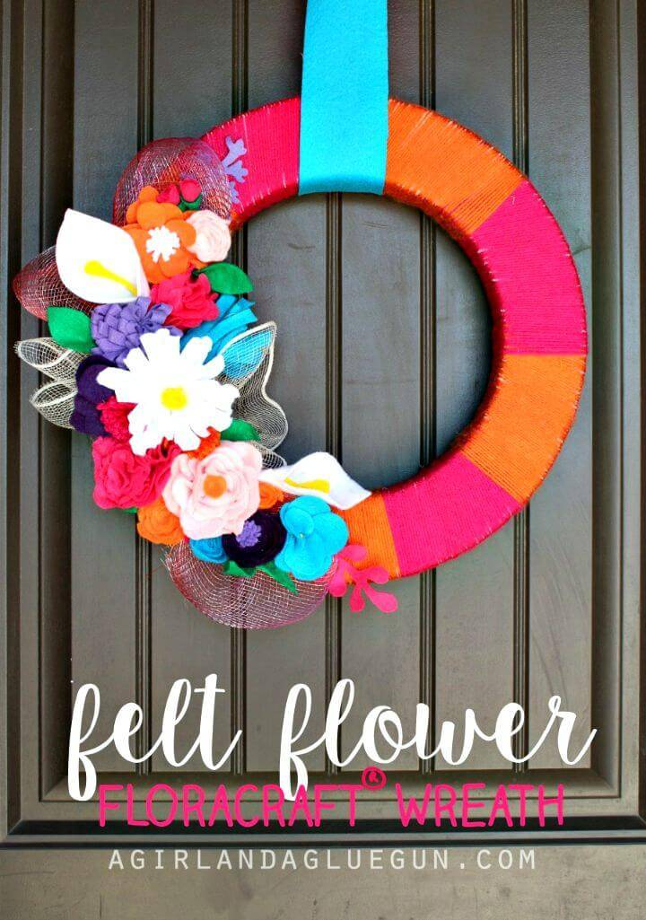 Gorgeous DIY Felt Flower Wreath