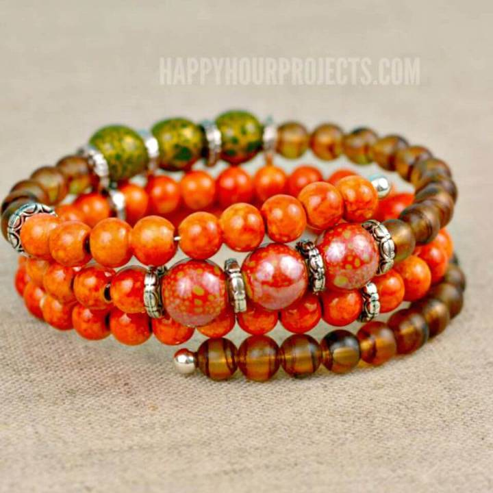 How To Create Autumn Memory Wire Bracelet - DIY Homemade Jewelry Ideas