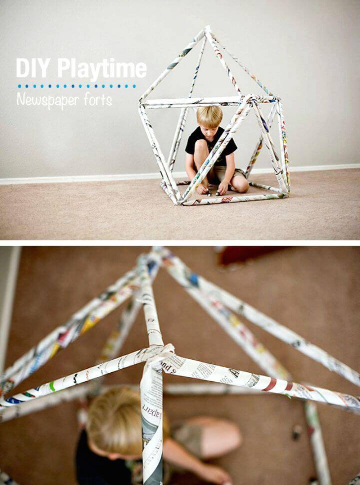 DIY News Paper Forts - Adorable Summer Kids Craft