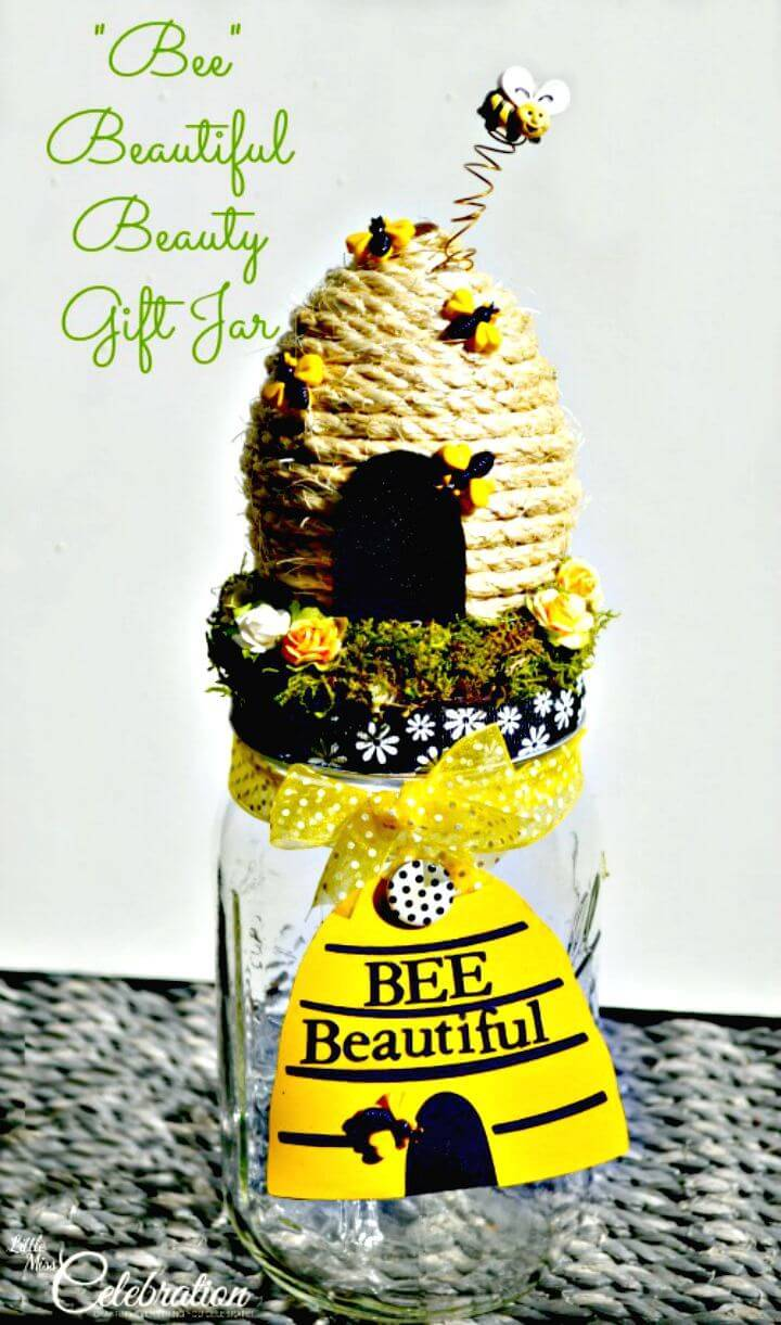 "How To Make ""BEE"" Beautiful Beauty Gift Jar - DIY Mason Jar Crafts"