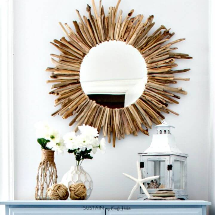 How To Make A Driftwood Mirror - DIY Coastal Decor Ideas