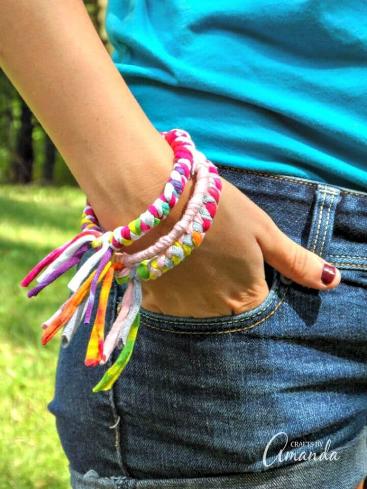 How To Make Bracelets From Recycled T-shirts - DIY