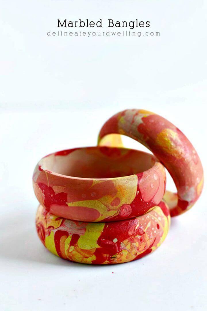 How To Make Colorful Marbled Bangles - DIY