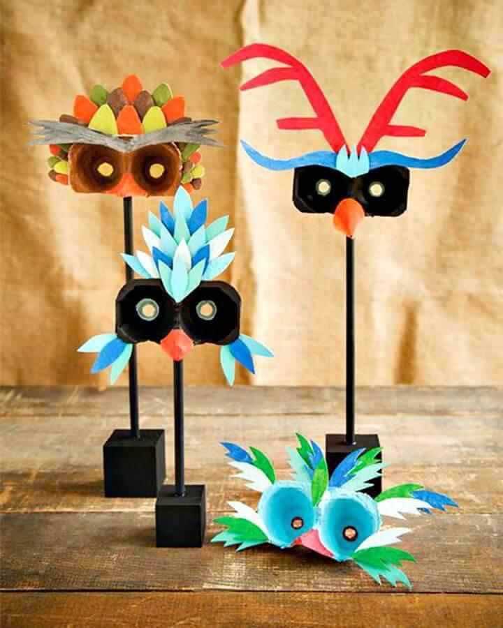 How To Make Egg Carton Bird Masks - DIY