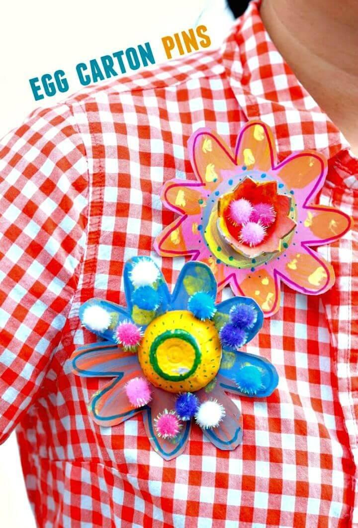 How To Make Egg Carton Flower Pins - DIY