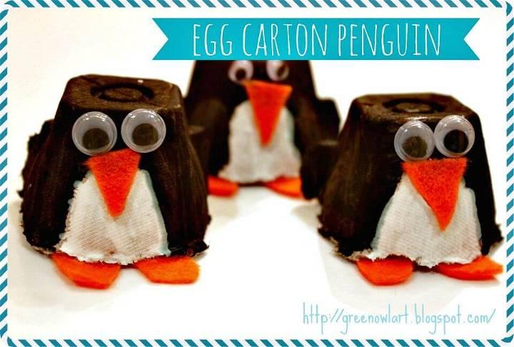 How To Make Egg Carton Penguin - DIY