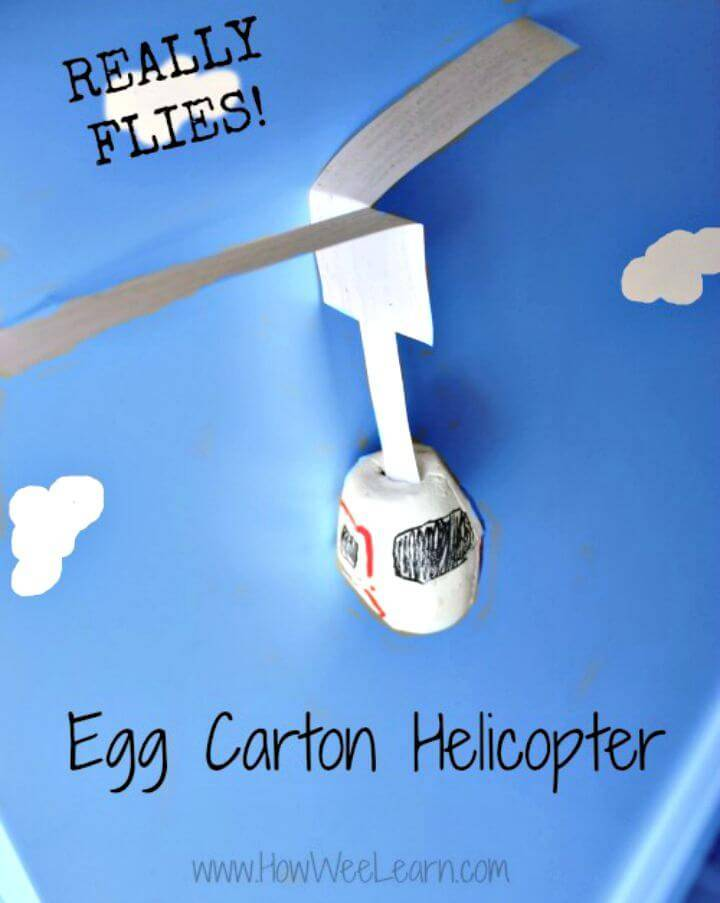 How To Make Flying Egg Carton Helicopter - DIY