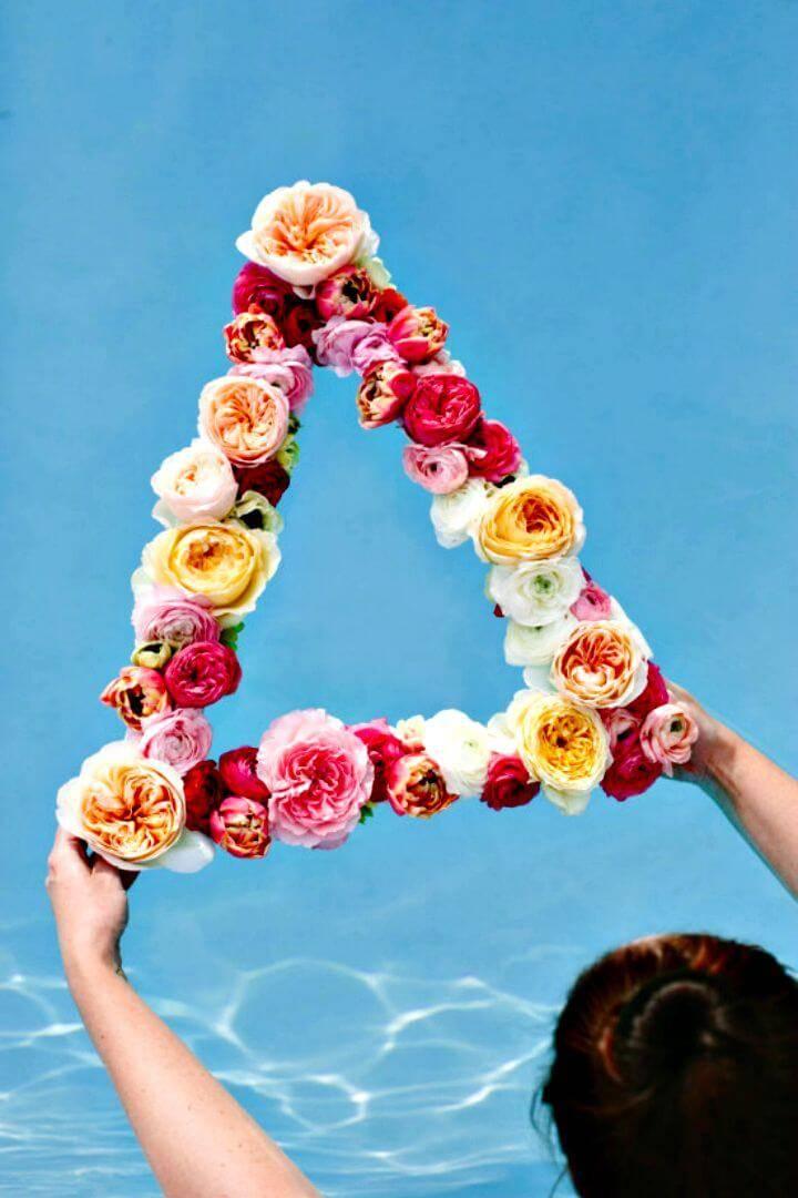 DIY Geometric Floating Flower Summer Wreath