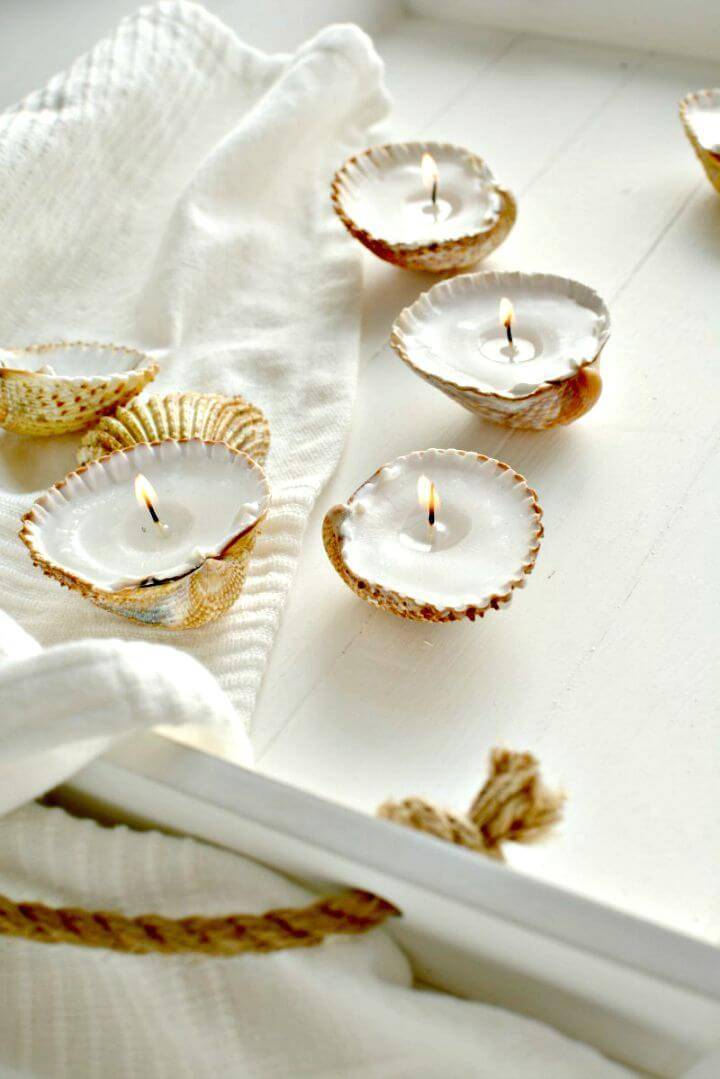 DIY Handmade Shell Candles for Coastal Decor