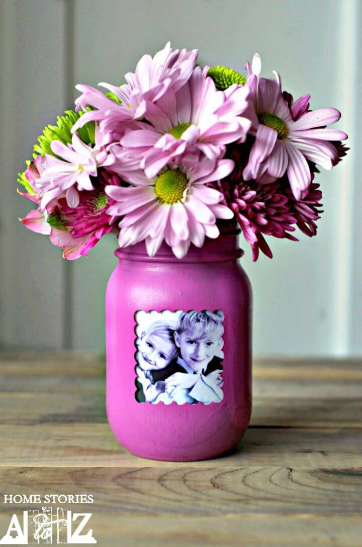 How To Make Mason Jar Picture Frame Vase - DIY