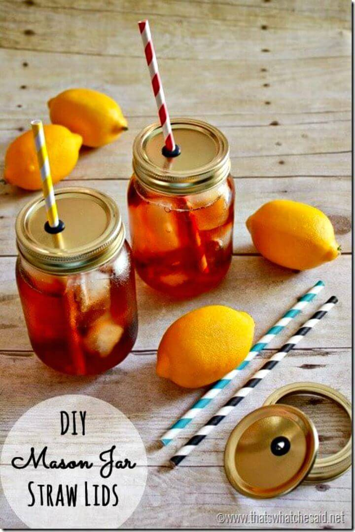 How To Make Mason Jar Straw Lids - DIY Summer Party Decorations Ideas