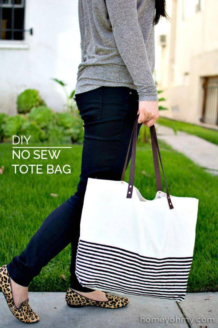 Adorable DIY No Sew Tote Bag