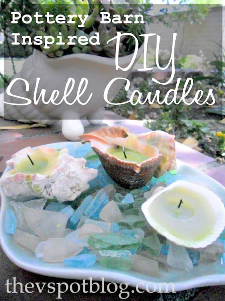 DIY Coastal Decor PB Style Shell Candles