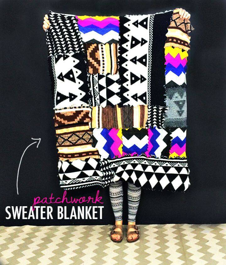 How To Make Patchwork Sweater Blanket - DIY