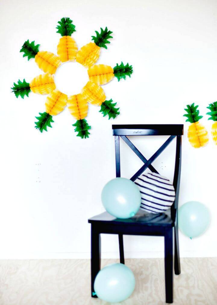 How To Make Pineapple Honeycomb Wreath - DIY for Summer
