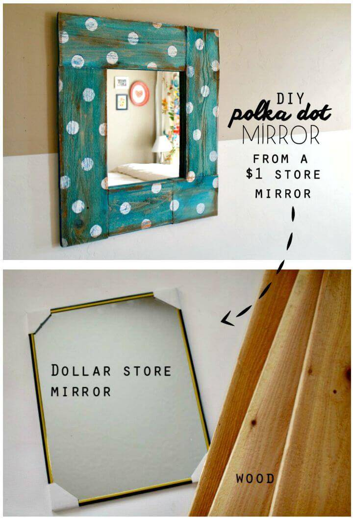 How To Make Polka Dot Mirror - DIY Mirror Makeover