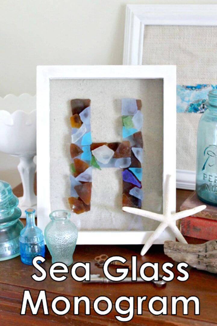 DIY Coastal Decor Sea Glass Monogram