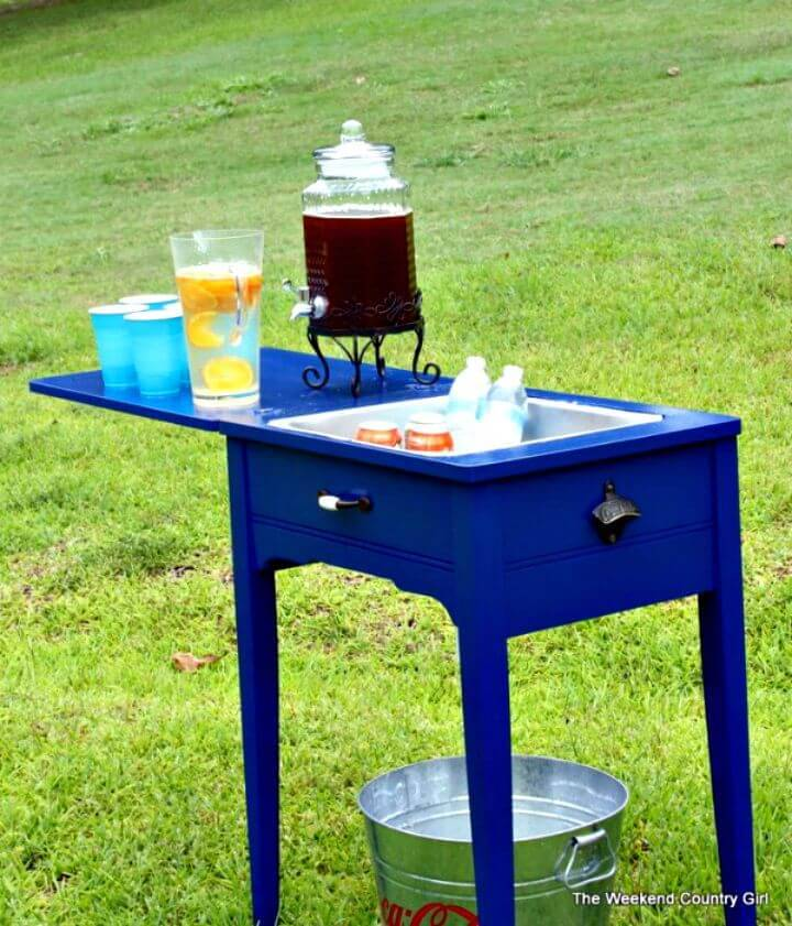 How To Turn A Sewing Table Into A Drink Station