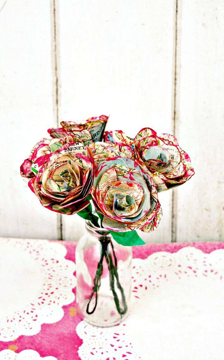 How to Make Simple but Beautiful Map Roses - DIY Mothers Day Gifts