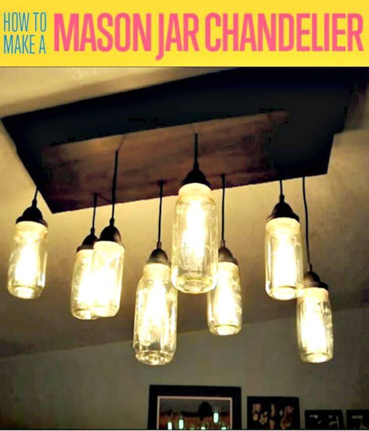 Easy to Make a Mason Jar Chandelier