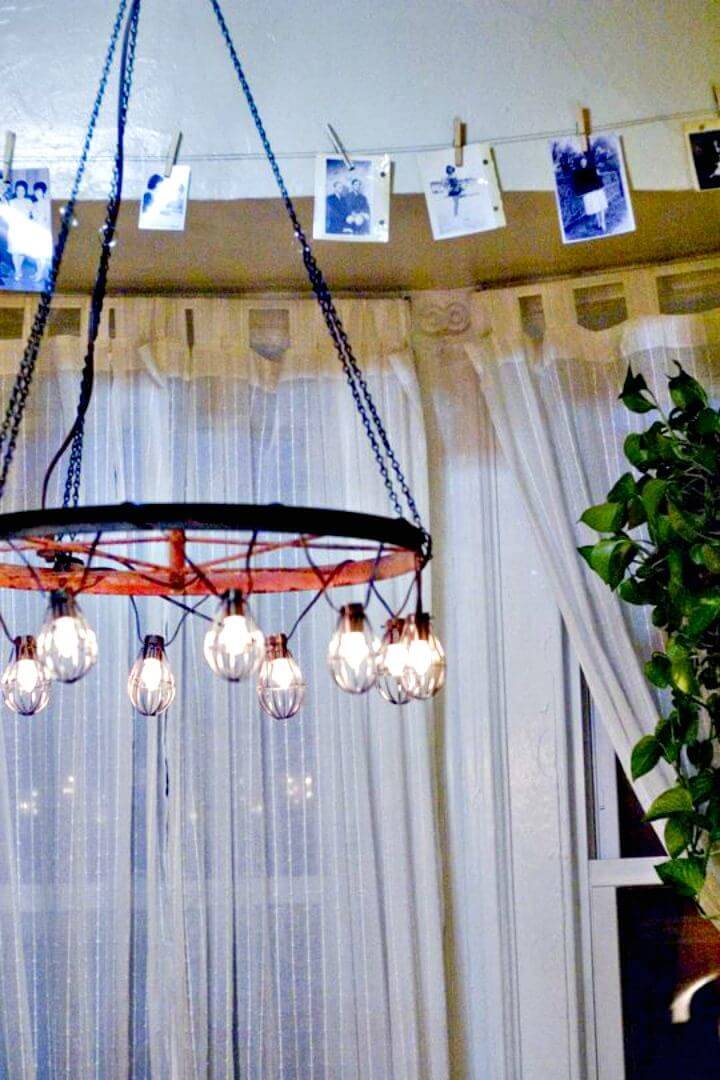 DIY Chandelier Using Bicycle Wheel
