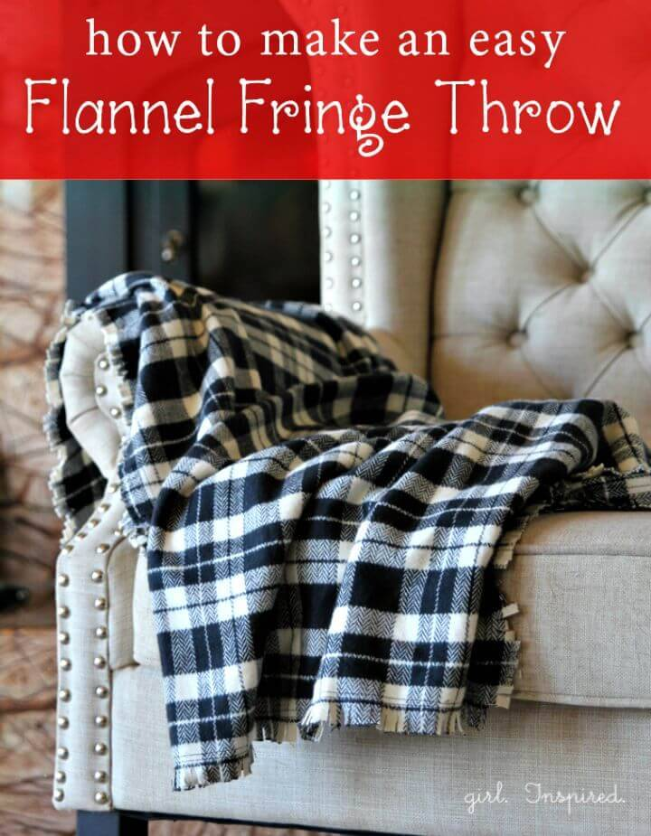 Adorable DIY Flannel Fringe Blanket