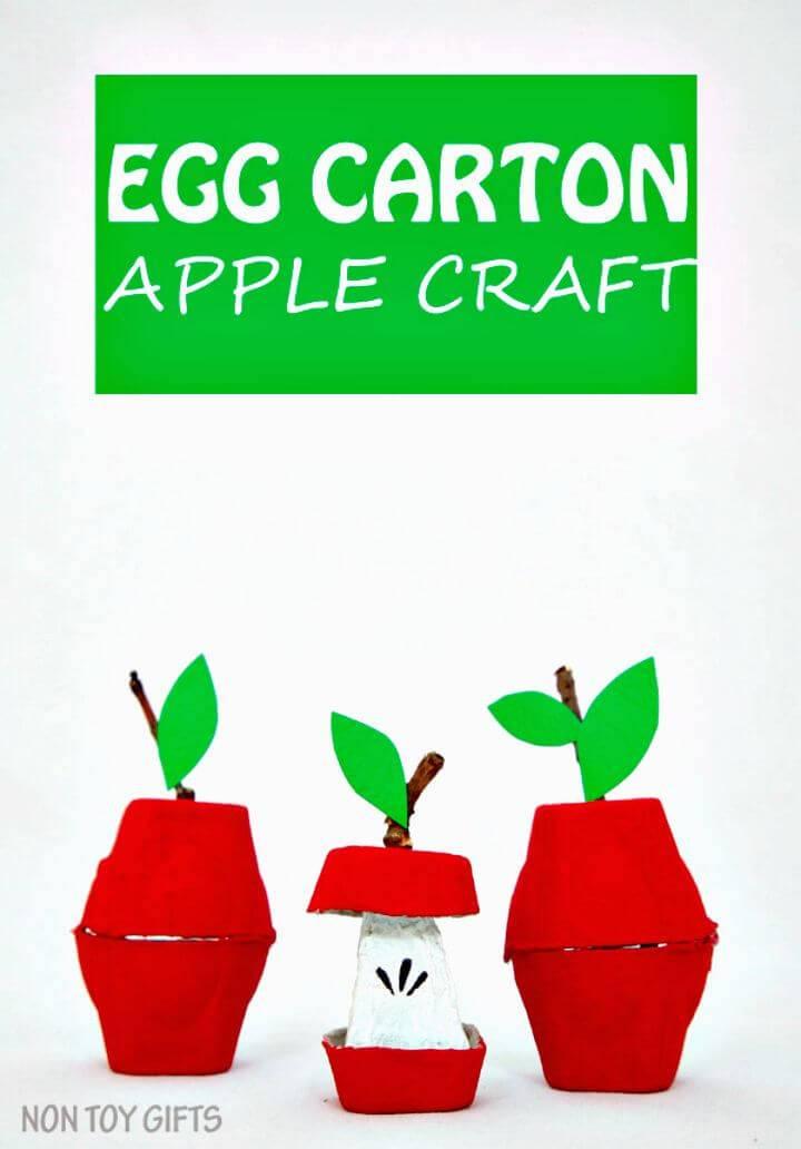 Make Egg Carton Apple Craft For Kids - DIY