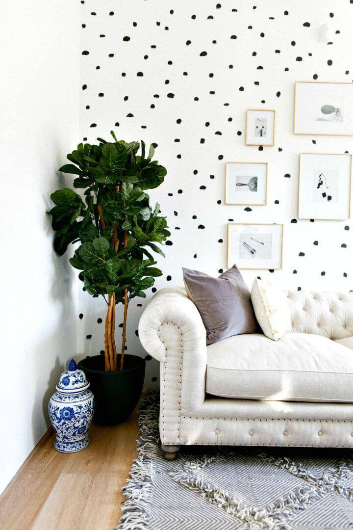 DIY Brush Stroke Inspired Polka Dot Wall