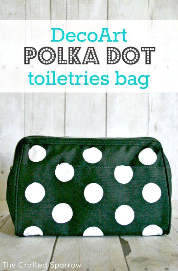 Make a Decoart Polka Dot Toiletries Bag - DIY Polka Dot Crafts