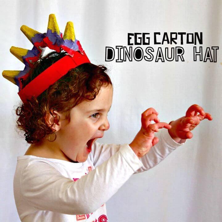 Make Your Own Egg Carton Dinosaur Hat - DIY Crafts for Kids