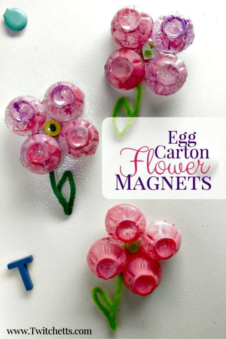 Easy DIY Egg Carton Flower Magnets