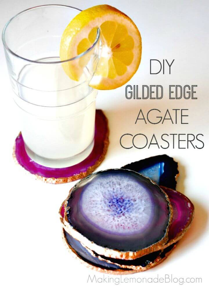 Make Gilded Edge Agate Coasters - DIY Mothers Day Gifts