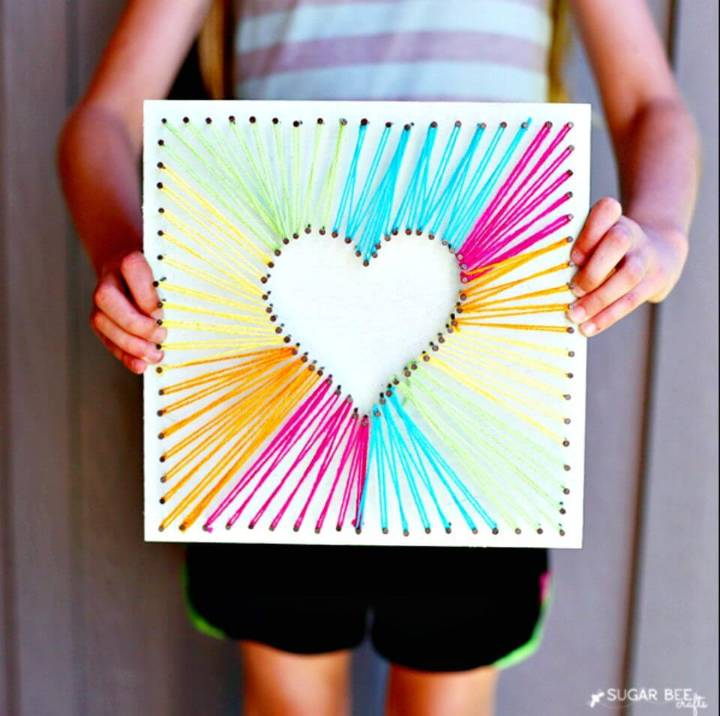 Make Your Own Heart String Art - DIY Mothers Day Gifts