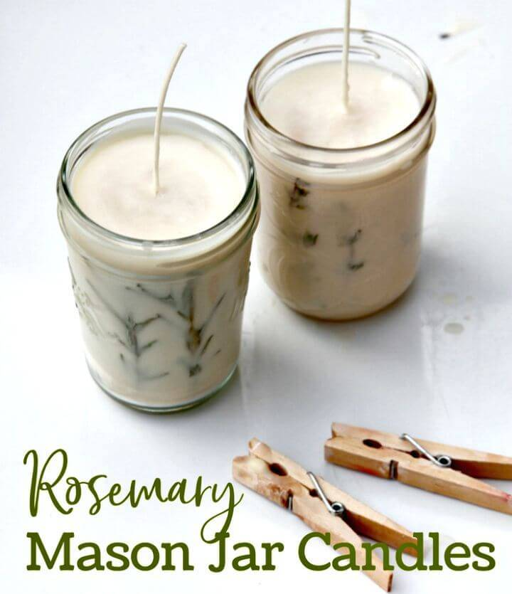 Make Your Own Rosemary Pressed Herb Candles - DIY