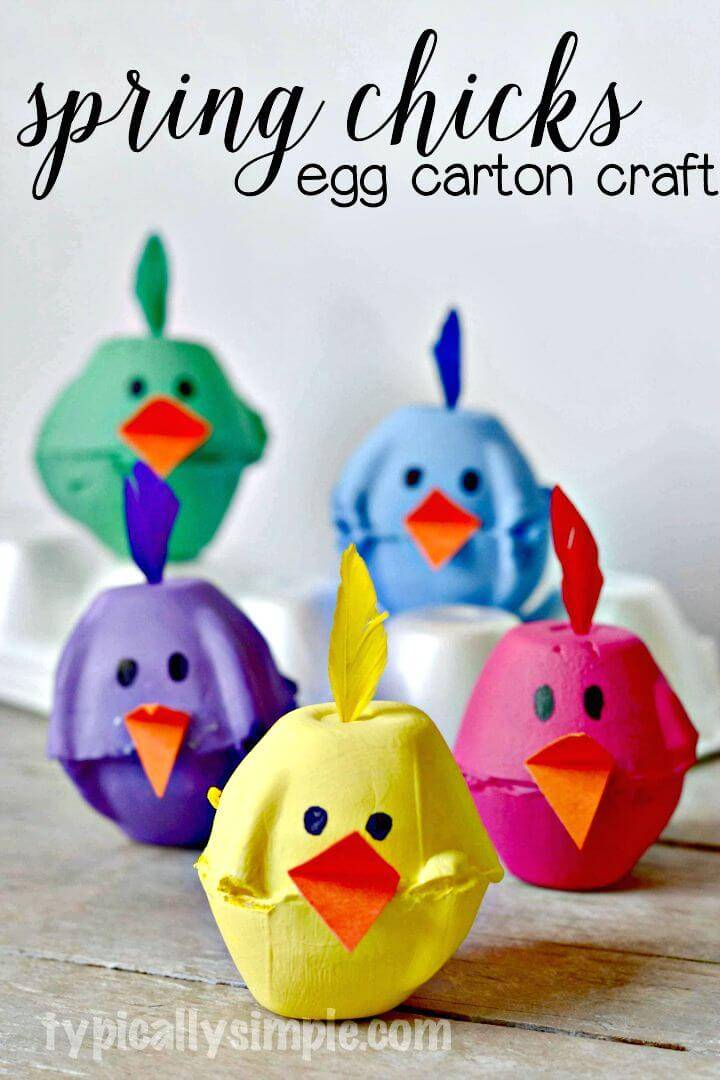 Make Your Own Spring Chicks Egg Carton - Egg Carton Crafts