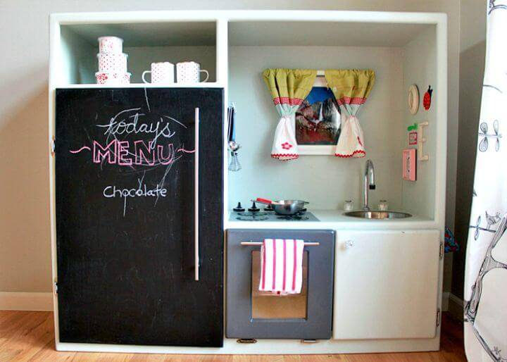 Make a Play Kitchen Out Of An Old Entertainment Center