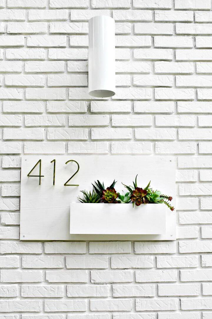 Modern DIY House Number Planter