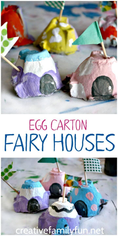 Simple DIY Egg Carton Fairy House Craft