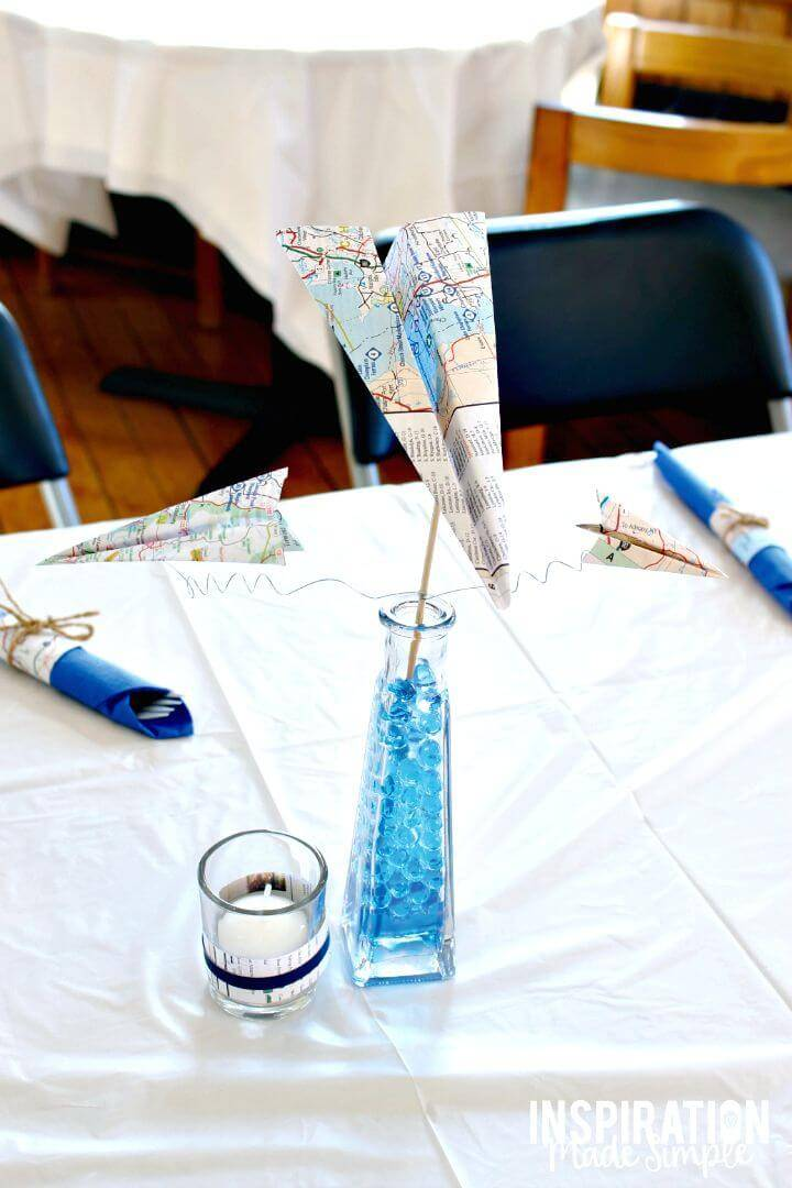 Make a Map Paper Airplane Centerpieces
