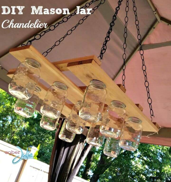 DIY Chandelier with Wood and Mason Jar